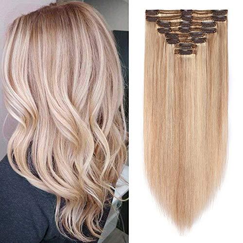 Extension Clip Capelli Veri 18P613 Biondo Cenere & Biondo Sbiancante Double Weft 8 Fasce/Set 110g 100% Remy Human Hair 25cm