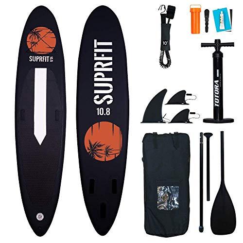 Suprfit Halia Black SUP Board I Stand up Paddle Board I Komplettset: Paddelboard, Transporttasche,...