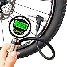 Digital Bicycle Tire Inflator Gauge with Auto-Select Valve Type - Presta and Schrader Air Compressor Tool