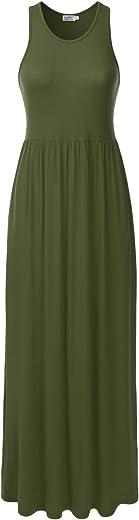 فستان danibe طويل بدون أكمام بظهر متقاطع مع جيوب (XS-XXL)