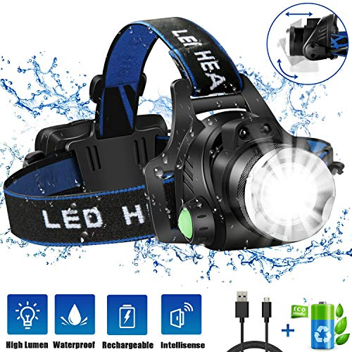 Headlamp Flashlight, USB Rechargeable Led Head Lamp, IPX4...