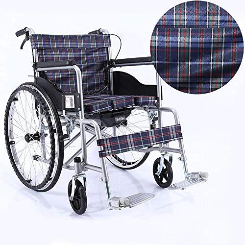 Amimilili Faltrollstuhl Leichter Rollstuhl Leichtgewichtrollstuhl Sitzbreite 50 cm,Plaidcloth