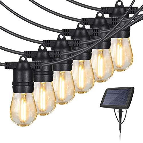 Solar String Lights Outdoor Waterproof Shatterproof - 48 Ft Commercial Grade Weatherproof, Smart Dusk to Dawn Sensor, 15 Pcs LED Shatterproof Vintage Edison Bulb, Decor for Patio, Pergola, Bistro
