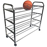 KIKIRon-Sports Ball Storage Rack Kindergarten Ball Rack Soccer Ball Storage Rack Stainless Steel Basketball Stand (Color : Silver, Size : 123x105x46cm)