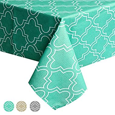 ColorBird Elegant Moroccan Tablecloth Waterproof Spillproof Polyester Fabric Table Cover for Kitchen Dinning Tabletop Decoration (Rectangle/Oblong, 60 x 102 Inch, Teal)