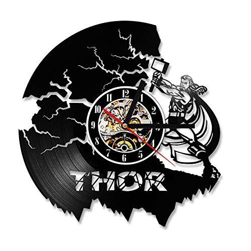 xcvbxcvb Promotion Saat Klok Thor Avengers Wanduhr Design Retro-Stil Vinyl CD Schallplattenuhr Home Decor Mute 12 Zoll
