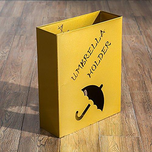 Paraguas de Metal, Soporte paragüero Soporte de pie, para Bastones/Bastones, con 4 Almohadillas de plástico, Cuadrado 33 X 12 X 41 Cm (Color : Gold)