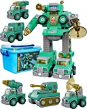 Magic4U 5 in 1 Take Apart Trucks Transform into Robot with Storage Box STEM Assemble Robots Story Toys with Action Figure Educational Learning Building Vehicles Gifts for Boys & Girls 6 Years up