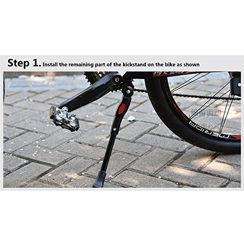 tinxi® Fahrradständer Seitenständer Hinterbau Mittelbau verstellbar 24″ 26″ Universal mit Anti-Rutsch Gummifuß Aluminiunlegierung - 5
