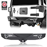 Hooke Road Different Trail Rear Bumper w/Hitch Receiver & LED Accent Lights for 2007-2018 Jeep Wrangler JK & Unlimited