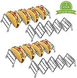 GJWYEYEYE Paquete de 4 Taco Espacio titular durante 16 a 20 Tacos, de acero inoxidable a prueba de herrumbre Taco estante del soporte sostiene hasta 4-5 Tacos cada uno, Taco por dura suave Taco Shells