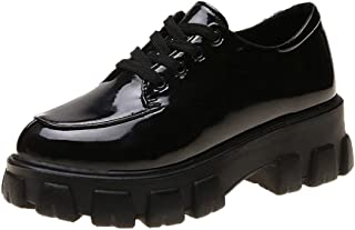 Funnygals - Womens Flat Platform Wedge lace up Goth Punk Creepers Shoes Boots Patent Leather Mocassins Boots Derbys
