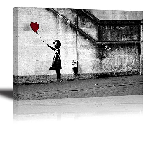 Canvas Wall Art for Bedroom, PIY Red Balloon Girl Home Decor of There is Always Hope Picture, Waterproof Giclee Print Oil Paintings, Ready to Hang