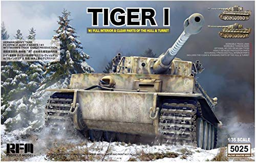 Reyfield Model 1/35 German Army Tiger 1 Heavy Tank Prior Type Vittman Tiger / RFMRM5025 1:35 Rye Field Model Tiger I Sd.Kfz.181 with Full Interior & Clear Parts of Hull & Turret [Model Building KIT]