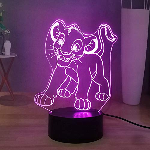 La veilleuse 3D du roi lion avec 16 couleurs réglables, lampe de table de bureau Simba enfant bébé chambre à coucher, lumière décorative alimentée par piles, cadeau d'anniversaire pour enfants
