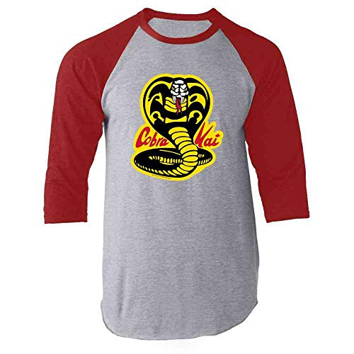 Cobra Kai Costume The Karate Kid Retro Martial Art Red XL Raglan Baseball Tee Shirt