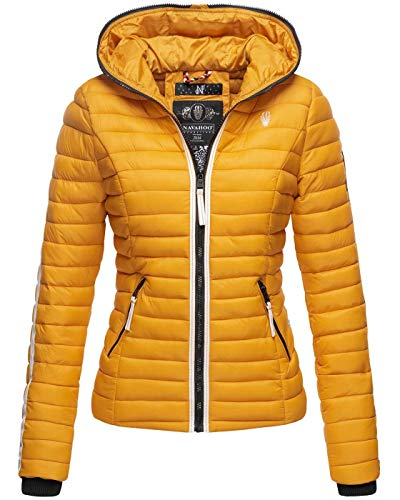Navahoo Damen Jacke Steppjacke Übergangsjacke gesteppt Herbst Kapuze B811 [B811-Kim-Pri-Gelb-Gr.XXL]