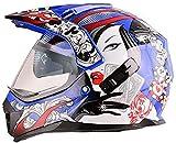 LONGXI Campo a través del Casco de la Juventud Motocross Combo Gafas Guantes Máscara, Poker Belleza Casco de la Motocicleta ATV SUV Bici de la Suciedad Bicicleta de montaña Casco,Azul,M