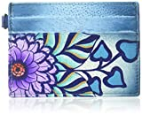Anna by Anuschka Credit Card Case | Leather, Hand-Painted Original Art, Summer Bloom Blue