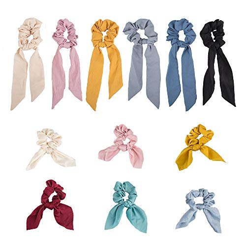 YuCool Haargummis, elastische Chiffon-Haarbänder mit 6 Schleifen und 6 Hasenohren, weiche Bänder, Schleife, Pferdeschwanz-Halter, Haarzubehör für Damen und Mädchen, 12 Stück