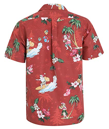Tropical Storm Christmas Hawaiian Shirts for Men Short Sleeve Regular Fit Mens Shirts(YH1936,XL)