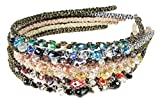 7ct Hair Bands for Women's Hair Style, Headbands for Teen Girls-HipGirl Glitter Sparkle Headbands for Women. Fashion Headbands for Women, Girls Headbands (7pc Bejeweled Rhinestone Headband)