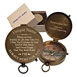 Engraved Compass Personalized | Graduation Gift Compass for Son, Daughter | Keepsake Antique Brass Pocket Compasses for Grandson, Granddaughter | Optional Hardwood Box and Chain (Enjoy The Ride)