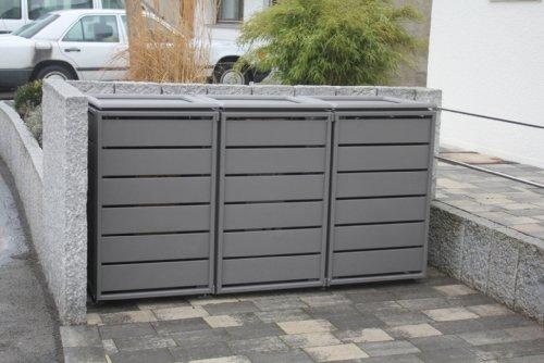 Gero metall Mülltonnenschrank, Boxen für Mülltonnen, Müllbehälterschrank Ecoplus für DREI 240 Liter Mülltonne in Grau