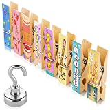8 Inspirational Fridge Magnets Clips + Strong Hook Magnet - Display Photos & Memos On a Refrigerator, Locker, Whiteboard in a Cute & Fun Way. Perfect for Kitchens, Offices, Classrooms & Cubicles.