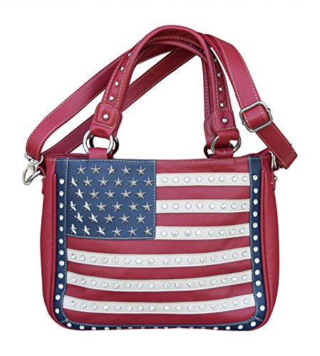 Montana West Womens Concealed Carry Shoulder Purse with Red White Blue American Flag Design (Red Handbag w/Rhinestones)