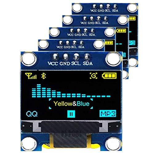 Facibom 5 StüCke 0,96 OLED Anzeige Modul IIC 128 X 64 12864 OLED Gelb Blau I2C 0,96 Zoll OLED Anzeige IIC Seriell