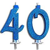 Party & Co. Candele per Torta di Compleanno Festa 40 Anni Ideale Sia per Uomo Che per Donna - 12 CM Blu Glitter