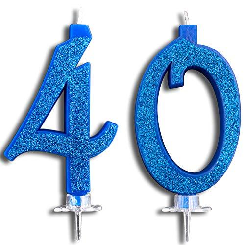 Party & Co. Bougies pour gâteau d'anniversaire, fête, 40 ans, idéales pour homme et femme, 12 cm, bleu pailleté