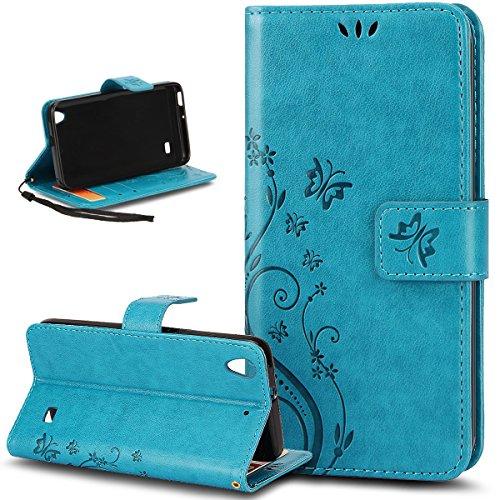 Kompatibel mit Huawei Ascend G620S/Honor 4 Play Hülle,Malerei Schmetterling PU Lederhülle Flip Hülle Cover Ständer Karten Slot Wallet Tasche Hülle Schutzhülle für Huawei Ascend G620S/Honor 4 Play,Blau