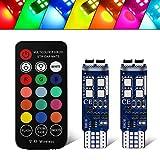 Luci 12V LED T10 RGB Atmosphere con Lampadine 6-SMD 5050 LED -Controllo Remoto Wireless Cambio di 16 Colori- Lampadine W5W 501 per Auto con Cuneo (confezione da 2)