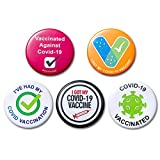 10Pcs Vaccine Button Pins I Got My Covid-19 Vaccine Vaccinated Against Covid 19 Recipient Notification CDC Encouraged Public Health and Clinical Pinback Button Badges Vaccinated for Virus Pin 5 Styles