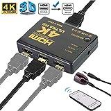 Ewise HDMI切替器 分配器 3入力1出力 HDMI セレクター4K 2K 3D映像・フルHD対応 リモコン付き HDTV Blu-Ray DVD DVR Xbox PS3 PS4 AppleTVなど対応 (3入力・1出力)
