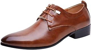 829a5d78e4 OSYARD Derby Homme Cuir Marron Chaussure de Ville à Lacets en Vernis Bout  Pointue Affaires Officielles