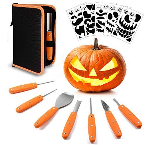 Hoshin Halloween Kürbis Schnitzset, Professionelle Hochleistungs-Edelstahlwerkzeuge mit Tragetasche (7-teiliges Set und 12-teiligen Carving-Schablonen-Schwarz)