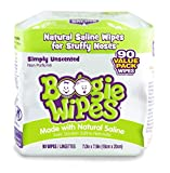 Hand, Face and Nose Wet Wipes for Kids and Baby, Boogie Wipes, Alcohol Free, Unscented, Wipes Away Dirt and Germs, Soft Natural Saline Tissue with Aloe, Chamomile and Vitamin E, 45 Count, Pack of 2