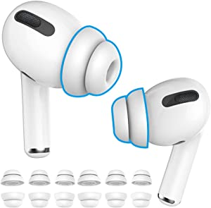 Delidigi 6 Pairs AirPods Pro Ear Tips Silicone Earbuds Earplug Replacement Accessories Compatible with AirPods Pro 2019 S/M/L Size(White)