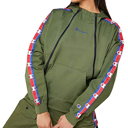 Champion Double Zip Logo Tape Utility Hooded Jacket Verde Oliva XS