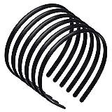 PROGARMNTS 6 Stücke Kunststoff Haarbänder, DIY Einfach Stirnbänder, Elastische Haarreif mit Zähnen für die tägliche Gesichtsreinigung und Haarfixierung von (8mm Schwarz)