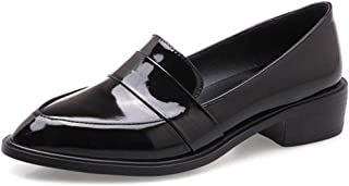 Women's Penny Loafers Flat Low Heel Pointed Toe Patent Leather Slip On Oxfords Loafer Dress Shoes