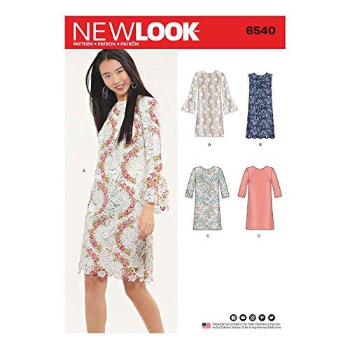 New Look UN6540ANew Look Schnittmuster 6540 Damen-Shift Dress A (36-38/44/46), Papier, Weiß