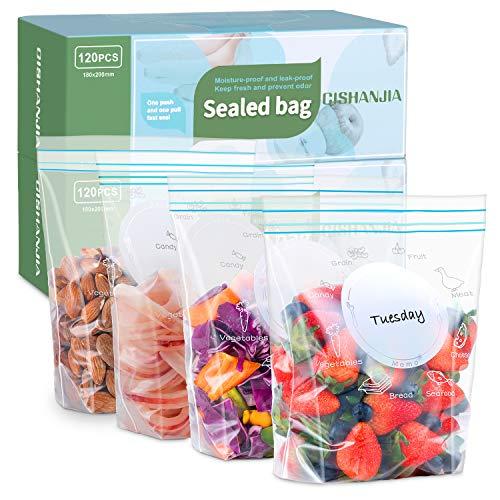 CISHANJIA 120pcs Bolsas Congelacion 18x20cm para Sándwich Bolsas Reutilizables para Congelar Alimentos a Prueba de Fugas Grueso Sello de Cierre Hermético Doble para Frutas Verdura Viaje