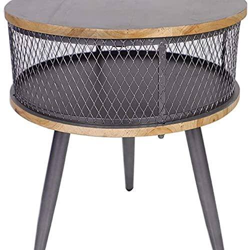 Mesa auxiliar del sofá, Moderno Noche Stand American Retro Industrial Mesa de la cama de la cama de madera redonda gris creativo Dormitorio de almacenamiento Gabinete de almacenamiento Hierro forjado