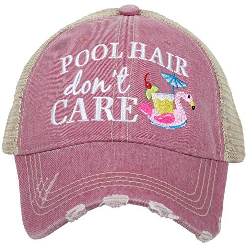 KATYDID Womens Pool Hair Don't Care Swan Float Embroidered Trucker Hat, Mauve