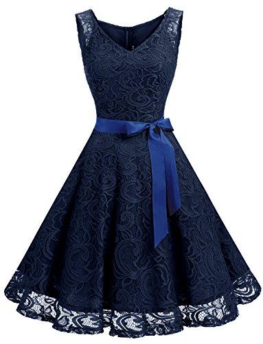 Dressystar DS0010 Brautjungfernkleid Ohne Arm Kleid Aus Spitzen Spitzenkleid Knielang Festliches Cocktailkleid Marineblau S