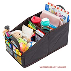 PEACE OF MIND WHILE TRAVELING: Forget the days of messy back seats full of toys, spilled drinks and baby gear. With this smart car or trunk organizer you can tidy the back and front seat of your vehicle in just a few seconds! Keep everything you need...